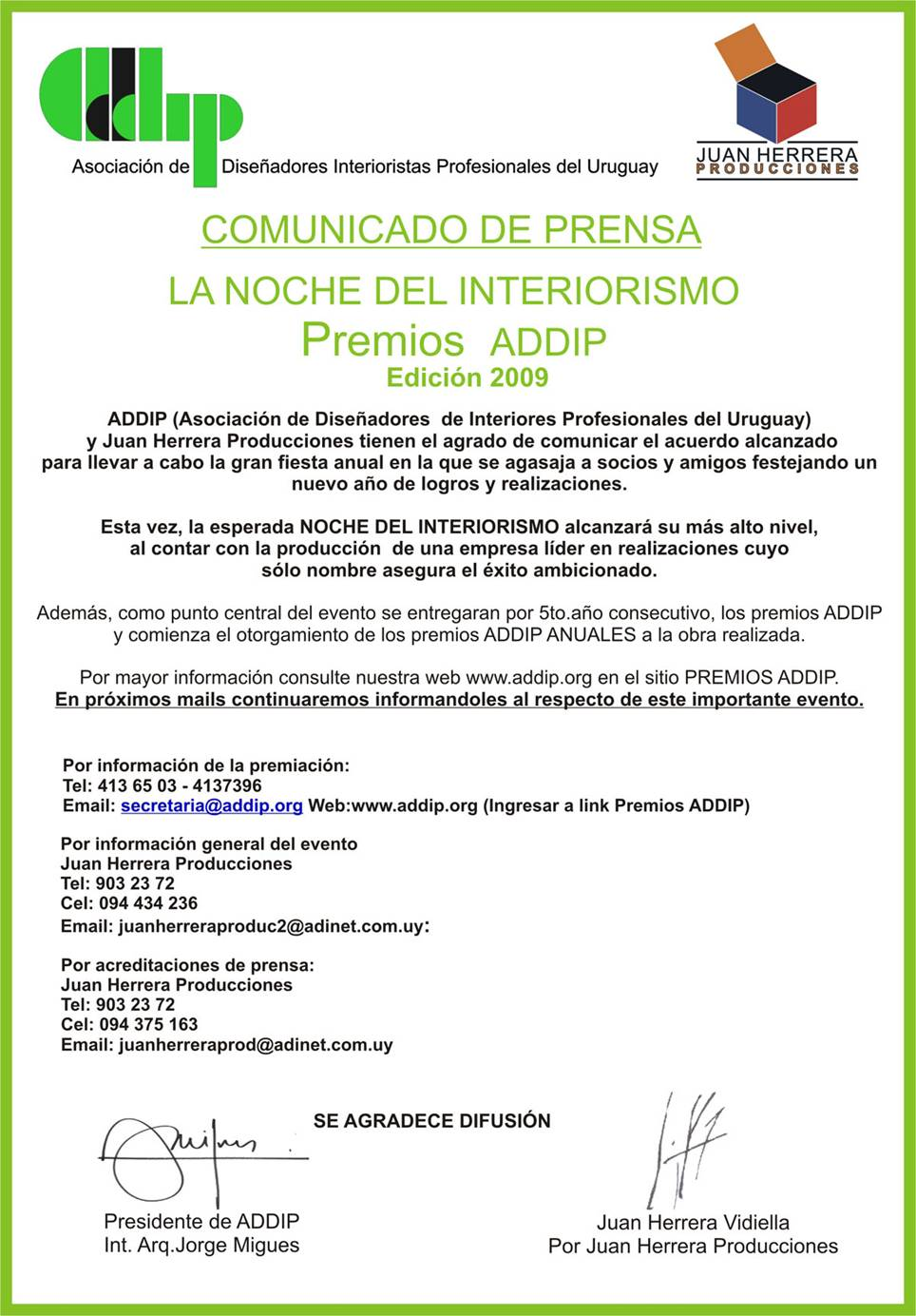 comunicado addip 2009