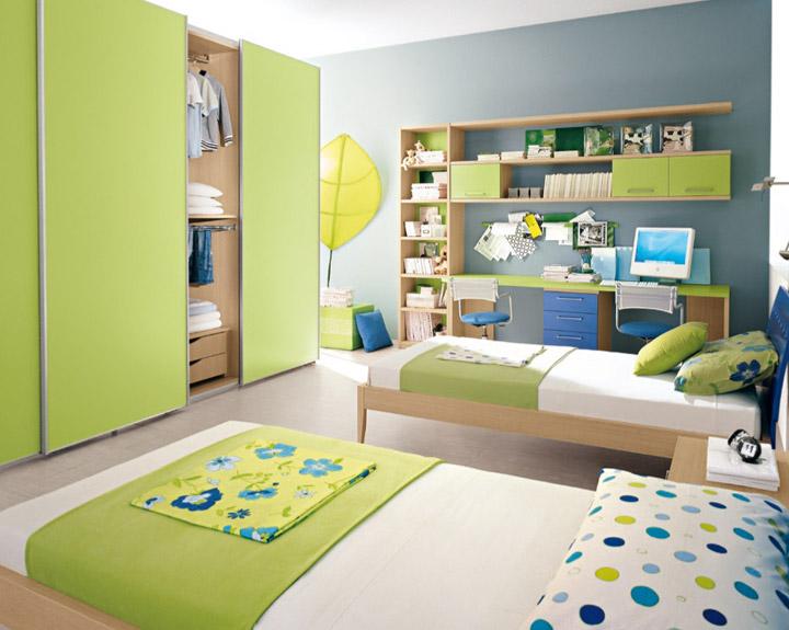 Habitación infantil para dos en verde manzanade interiores, decoración infantil, dormitorios, dormitorios infantiles, color verde manzana