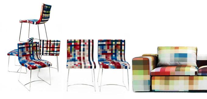 Sillas y sillón pixelado
